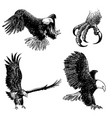 set eagle doodle hand drawn vector image vector image