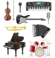 set musical instruments 01 vector image vector image