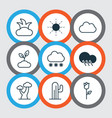 set of 9 harmony icons includes bush snowstorm vector image vector image
