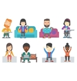set of business characters and gamers vector image vector image
