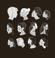 set woman s and man s faces vinimalist linear