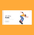 skateboarding outdoors activity landing page vector image