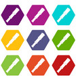 spyglass icon set color hexahedron vector image vector image