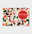 tasty sushi card template with asian food seamless vector image