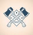 Vintage Lumberjack Label Woodcutter Emblem vector image