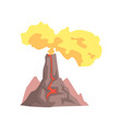 volcano with lava mountain rock volcanic with hot vector image vector image