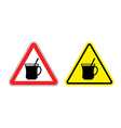 Warning sign attention hot coffee Hazard yellow vector image vector image