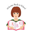 welcome back to school cheerful smiling little vector image vector image