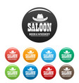 whiskey saloon icons set color vector image