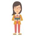 Woman holding folders vector image