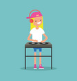 young blond girl dj wearing headphones and vector image