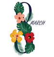 8 march floral card vector image