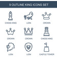 9 king icons vector image vector image