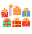 a set of festive boxes with gifts tied with satin vector image vector image