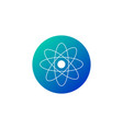 atom and heart shape icon in blue gradient circle vector image vector image