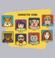 avatars set funny colorful characters men vector image vector image