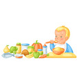 background with cute little baand food items vector image vector image