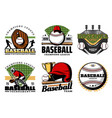 baseball game ball and sport icons vector image vector image