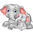 Cartoon funny Mother and baby elephant isolated vector image vector image