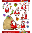 Cartoon Set of Santa Christmas Themes vector image vector image