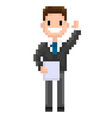 cheerful pixel character holding document paper vector image vector image