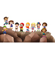 Children from different countries on the cliff vector image