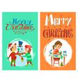 christmas holidays merry christmas postcards set vector image vector image
