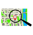 city map with a magnifying glass vector image