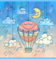 color hand-drawn image a cute aerostat vector image vector image