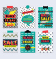 colorful and funky black friday sale cards set vector image vector image