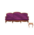 couch with purple velvet trim and chair with beige vector image vector image