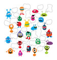 cute adorable ugly scary funny mascot monster set vector image