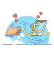 cute cartoon concept of cellphone life vector image