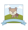 cute porcupine in landscape with frame and ribbon vector image vector image