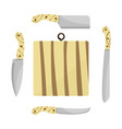 cutting board and knives vector image vector image