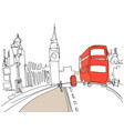drawing of london tower street with red bus vector image vector image