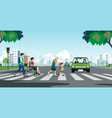 elderly are crossing road vector image