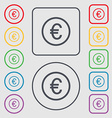 Euro icon sign Symbols on the Round and square vector image vector image