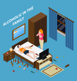 family problems alcoholism isometric composition vector image vector image