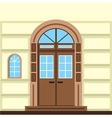 Flat of commerce building facade door vector image