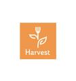 fork plant leaf flower harvest vegan food logo vector image vector image