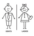 gents and ladies wc sign for restroom wc icon vector image vector image