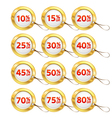 gold shopping tags set vector image vector image