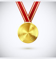 golden medal with laurel hanging on red ribbon vector image