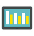 graph tablet icon flat style vector image vector image