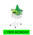 Green Trees and Plants in Cyber Monday Shopping vector image vector image