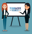group of businesswoman with paperboard teamwork vector image vector image