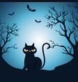 happy halloween card with black cat in the night vector image vector image