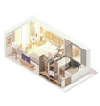 isometric hotel room interior vector image