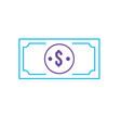 line bill dollar cas money currency vector image vector image
